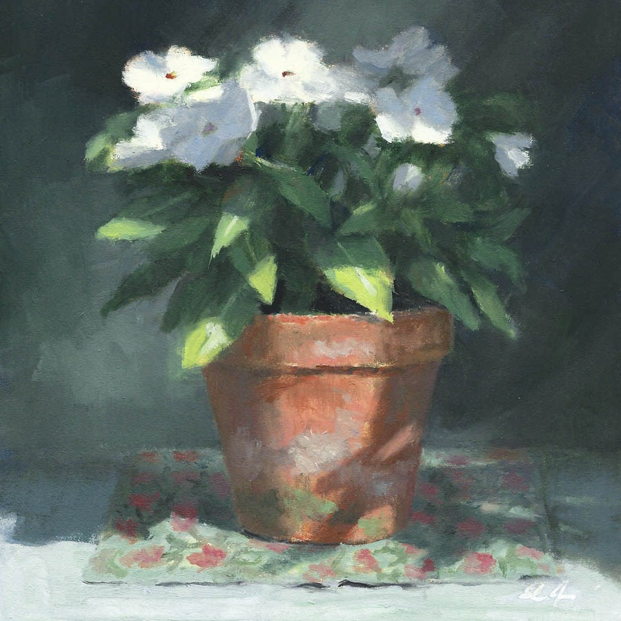 """Vinca in White"" original fine art by Linda Jacobus"