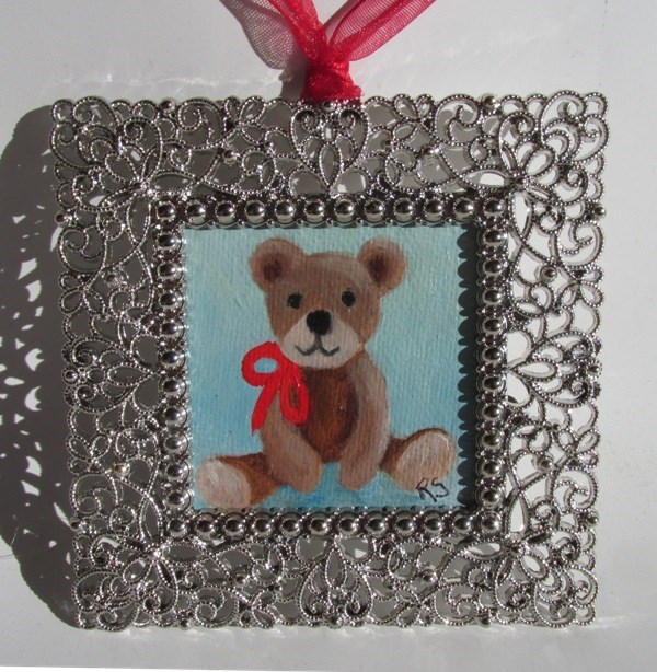 """Teddy Ornament"" original fine art by Ruth Stewart"