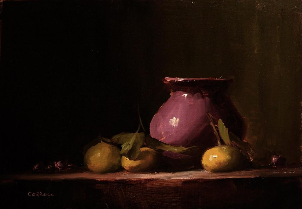 """""""Vase with Early Season Clementines"""" original fine art by Neil Carroll"""