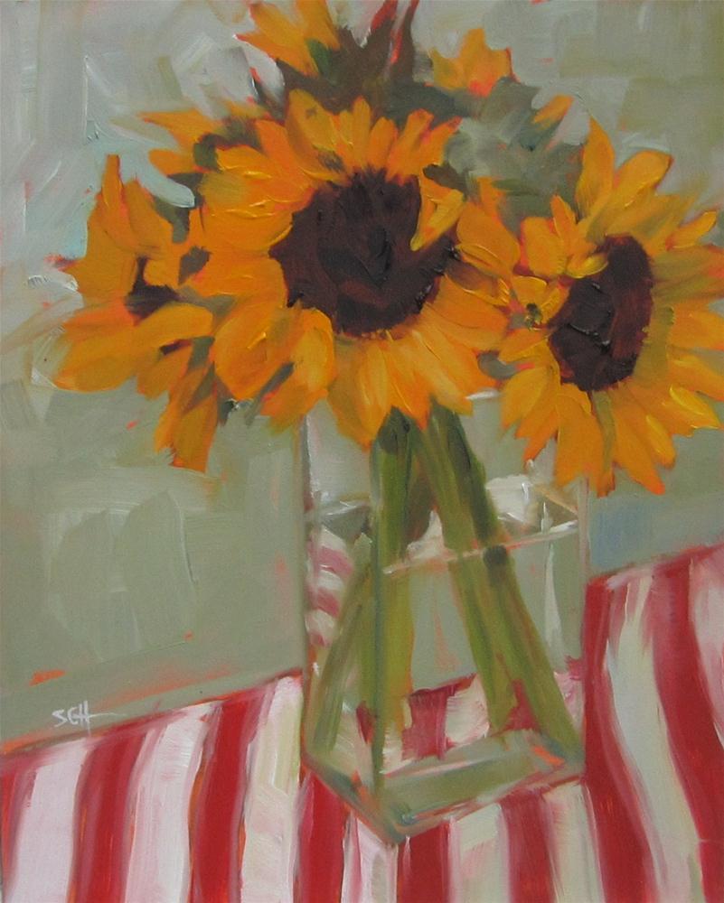 """""""Stripey bouquet"""" original fine art by Sandy Haynes"""