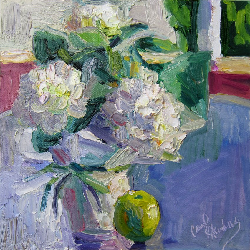"""Little White Hydrangea on Porch"" original fine art by Carol Steinberg"