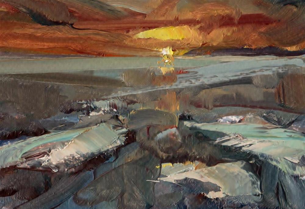"""Sun Sparkle at Sea"" original fine art by Anne Wood"