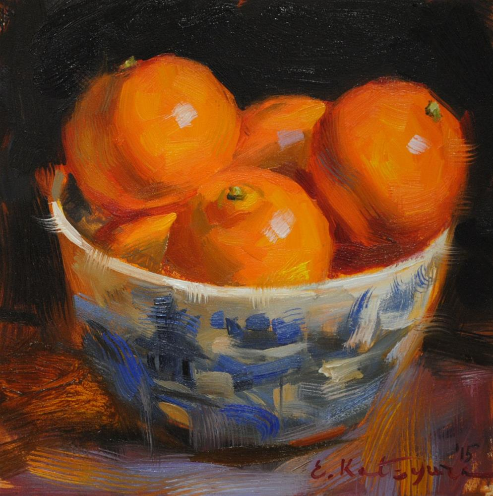 """Blue and Orange"" original fine art by Elena Katsyura"