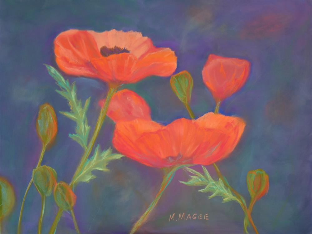 """Pretty Poppies"" original fine art by Mary Magee"