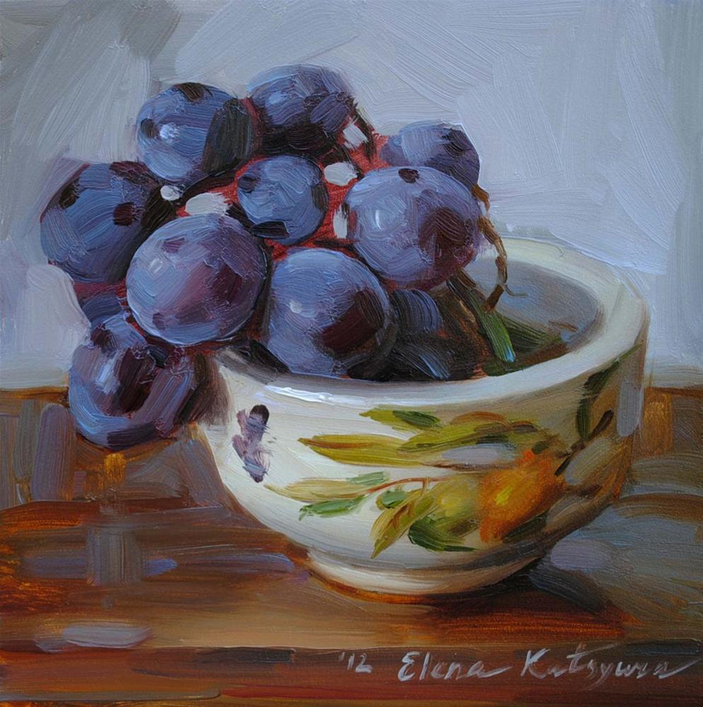 """""""A Bowl of Grapes"""" original fine art by Elena Katsyura"""