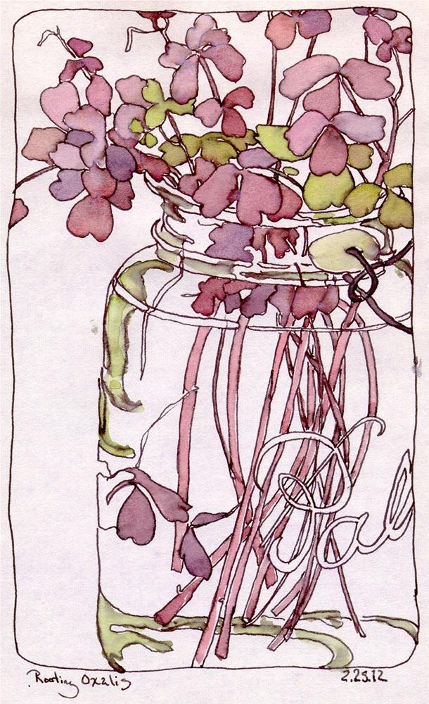 """Rooting Oxalis in Ball Jar, Color Scheme Game"" original fine art by Chris Carter"
