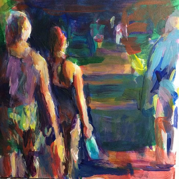 """Late Day Walk in the Park"" original fine art by Sharon Savitz"