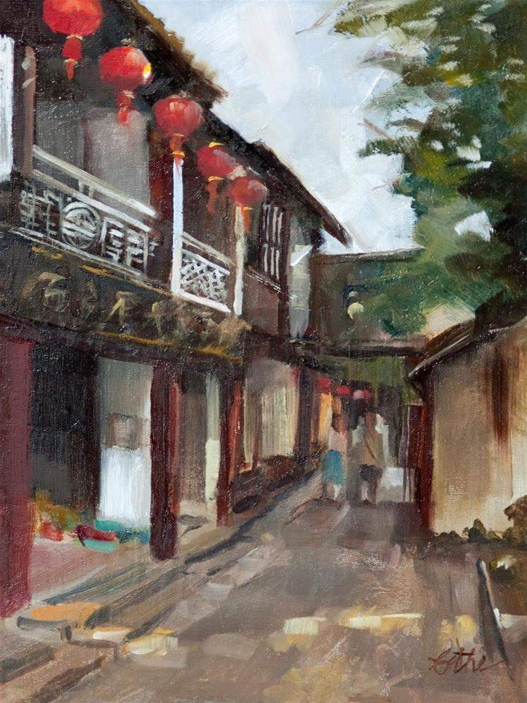 """Red Lanterns of Zhouzhaung"" original fine art by Beth Bathe"