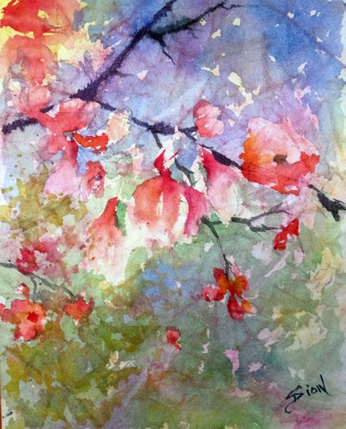 """Cherry Branch"" original fine art by Sue Dion"