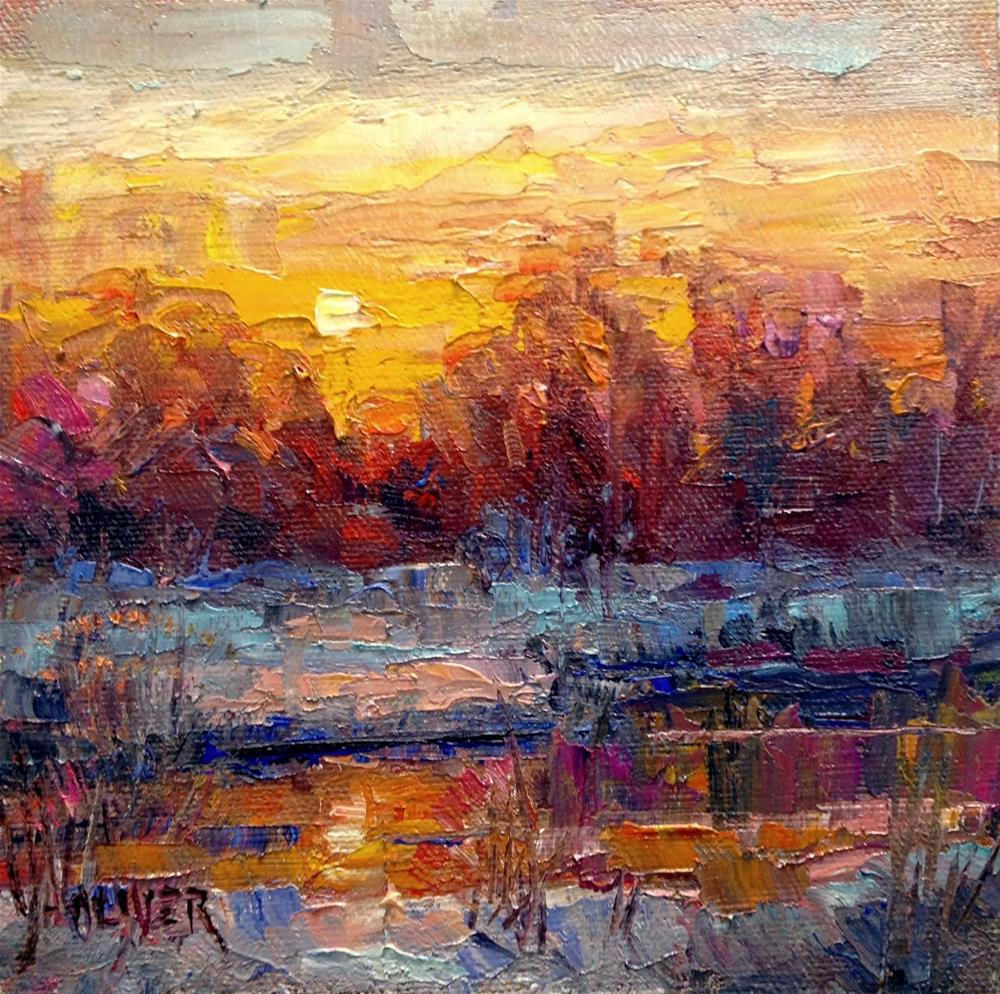 """Sunset on the Bosque"" original fine art by Julie Ford Oliver"