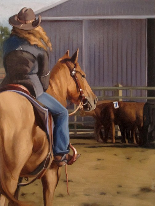 """Arrival painting of horse rider cows barn country"" original fine art by Diane Hoeptner"