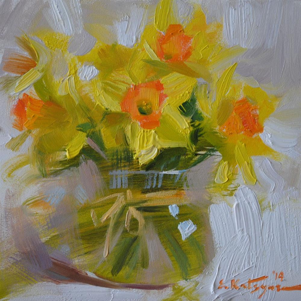 """Sunny Daffodils"" original fine art by Elena Katsyura"