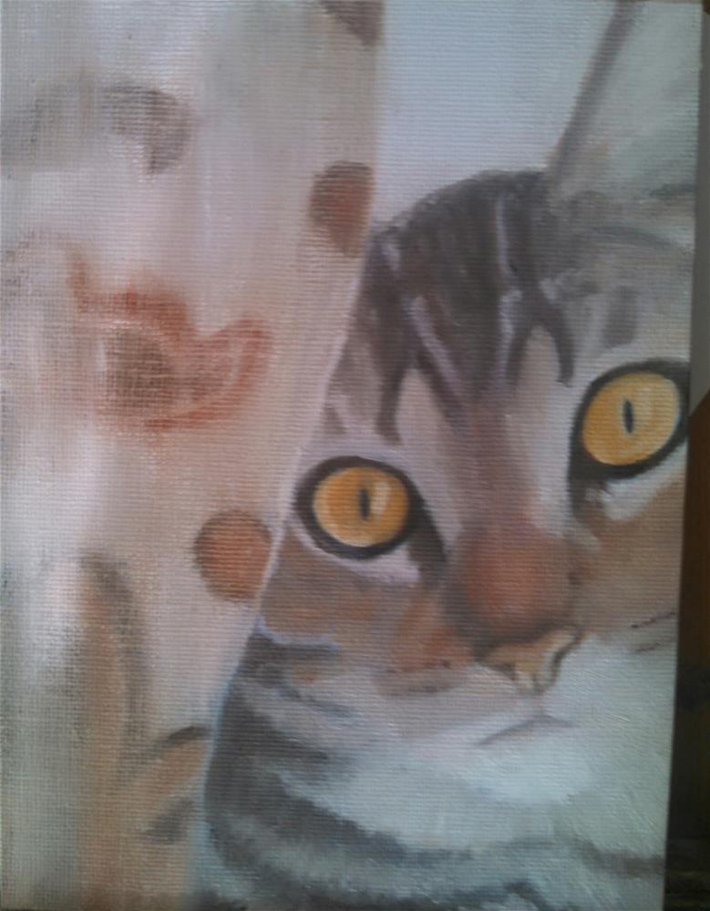 """Behind the curtain"" original fine art by Cheri Sperl"