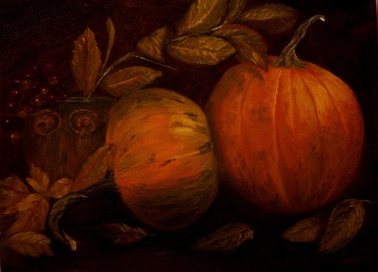 """Pumpkins"" original fine art by Mary Datum"