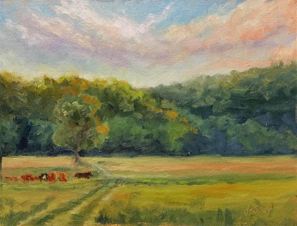 """Sunset at Werner Farm-en plein air"" original fine art by Veronica Brown"