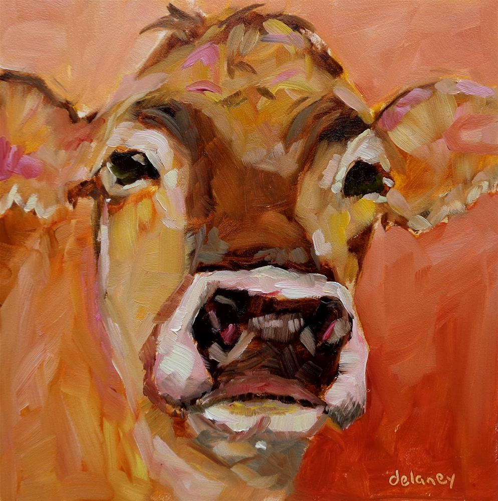 """Cow 125 PEACHES"" original fine art by Jean Delaney"