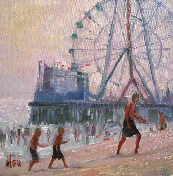 """""""Fun At The Shore"""" original fine art by Dori Dewberry"""