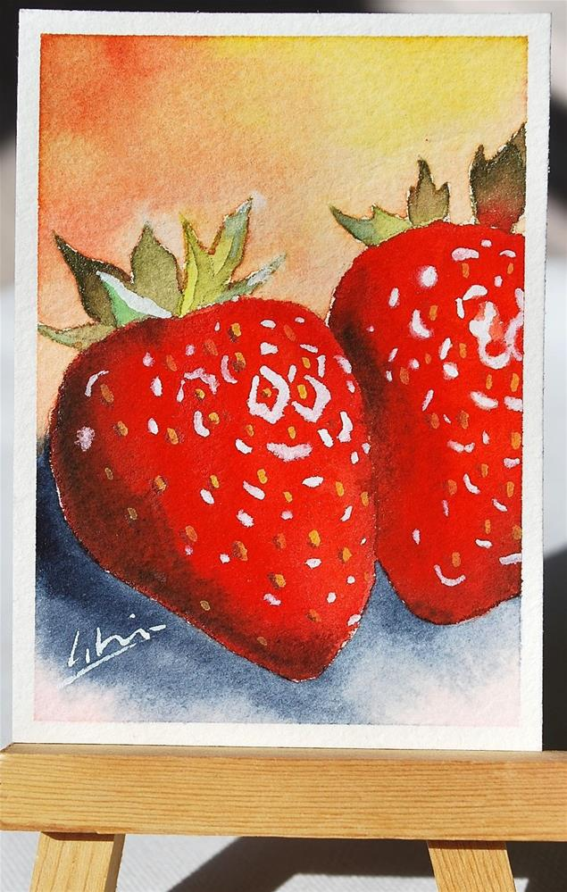 """ACEO original watercolor painting of fresh red strawberries  2.5x3.5 inch collectible miniature"" original fine art by Hui (Hue) Li"