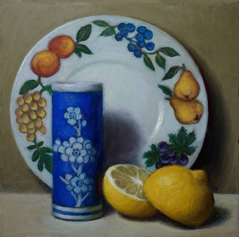 """Fruit Plate with Lemon Halves"" original fine art by Debra Becks Cooper"