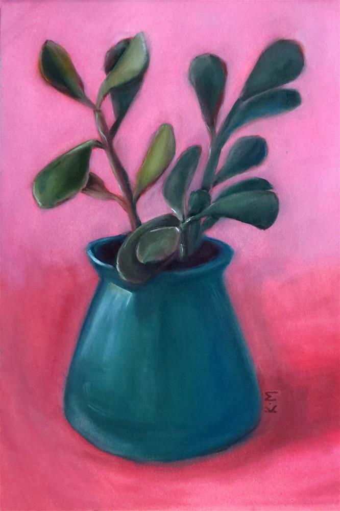 """Young Jade Plant"" original fine art by Kulli Maslova"