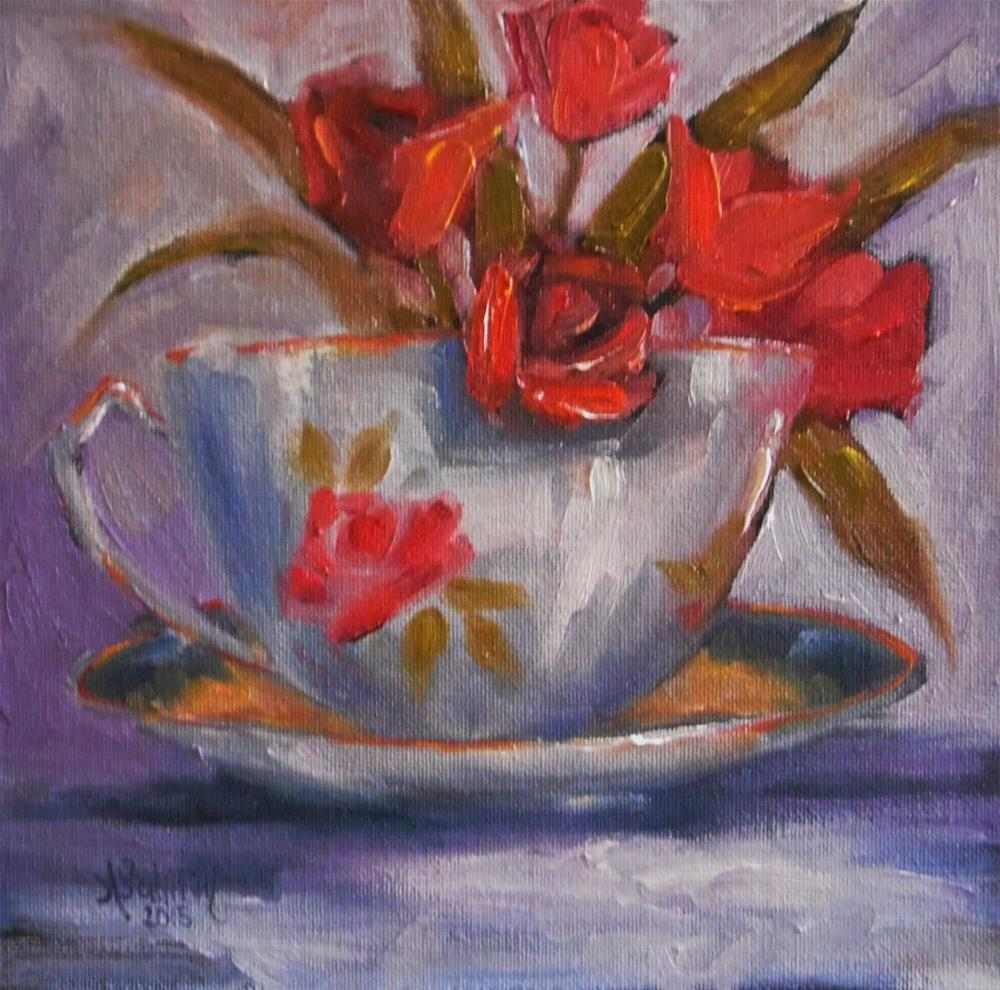 """Tulips In A Rose Cup still life painting by Alabama Artist Angela Sullivan"" original fine art by Angela Sullivan"