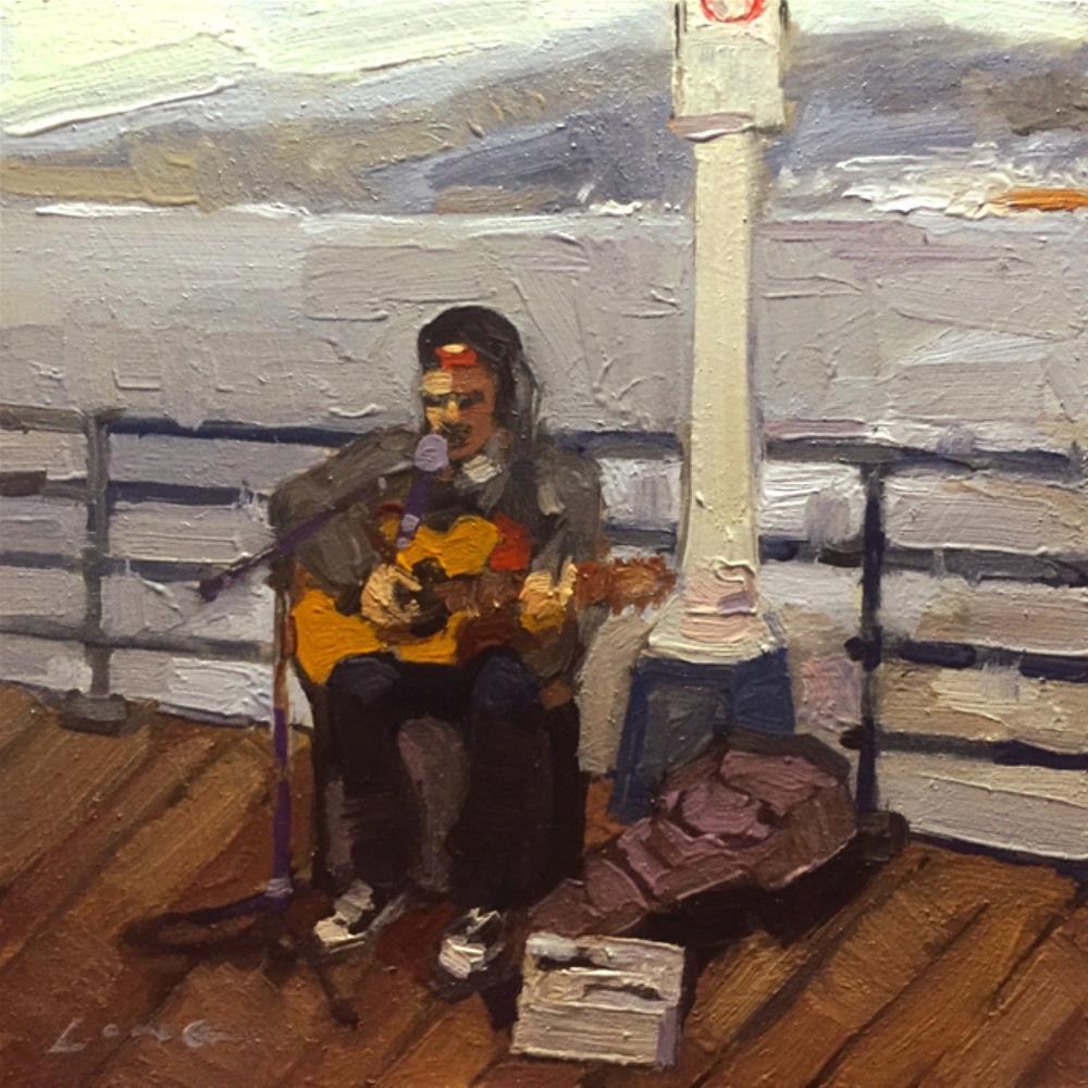 """Busker, Santa Monica Pier"" original fine art by Chris Long"
