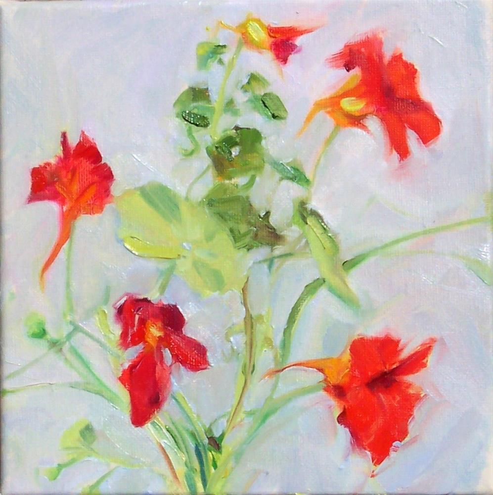 """Red Garden Nasturtiums,still life,oil on canvas,8x8,price$200"" original fine art by Joy Olney"