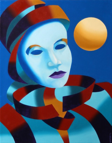 """Mark Webster - Abstract Blue Mask with Gold Sphere Oil Painting"" original fine art by Mark Webster"