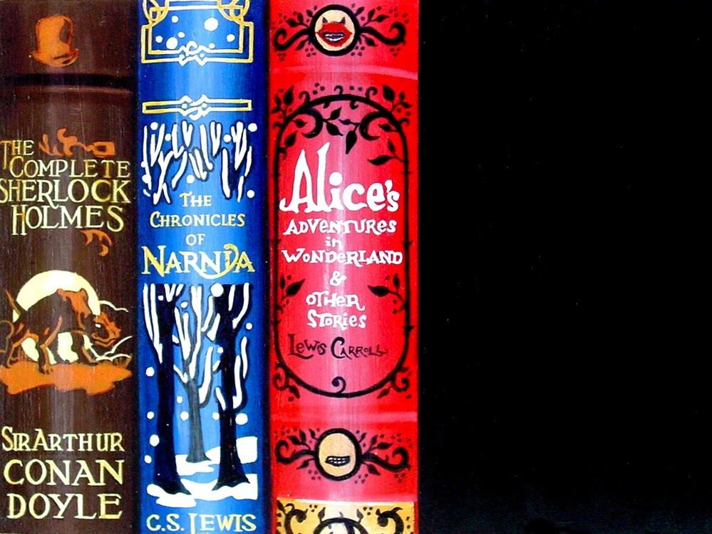 """Wonderland- still life painting of books Alice's Adventures In Wonderland, Chronicles Of Narnia and"" original fine art by Gerard Boersma"