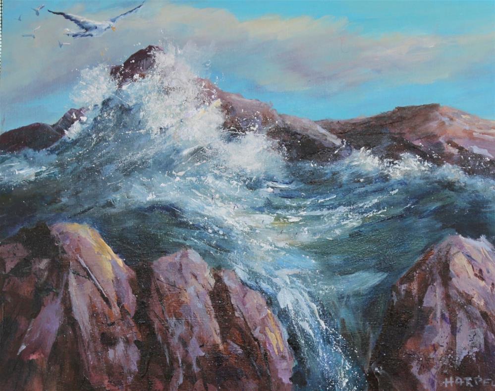 """Original seascape ocean coast acrylic painting"" original fine art by Alice Harpel"