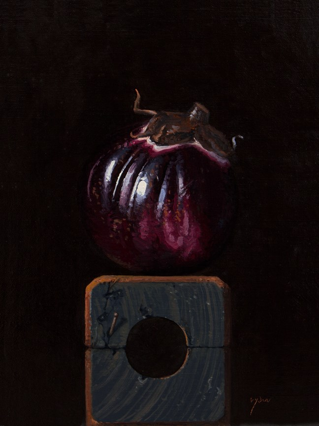 """Sicilian Eggplant on a Wood Block No. 2"" original fine art by Abbey Ryan"