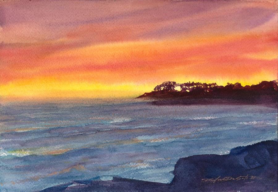"""Santa Cruz Sunset"" original fine art by Rafael DeSoto Jr."