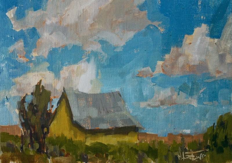 """Sunshine Barn"" original fine art by Melanie Thompson"