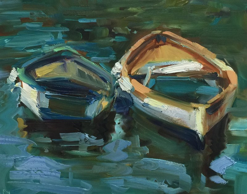 """Cinque Cozy Boats"" original fine art by Patti McNutt"