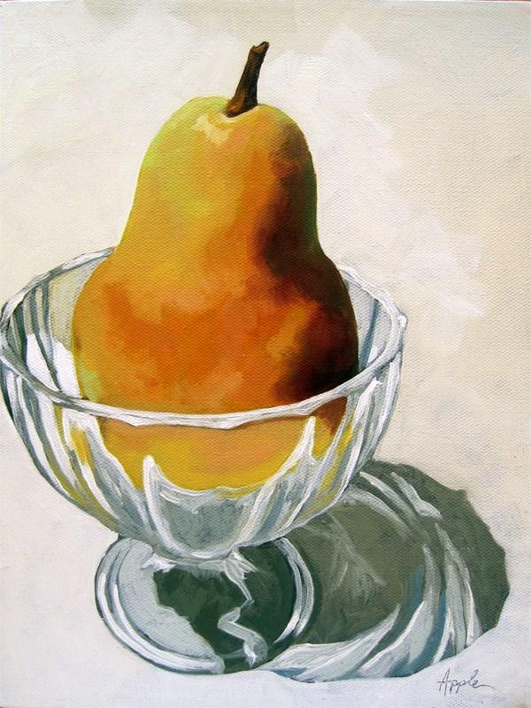 """Pear Dessert - realism still life oil painting"" original fine art by Linda Apple"