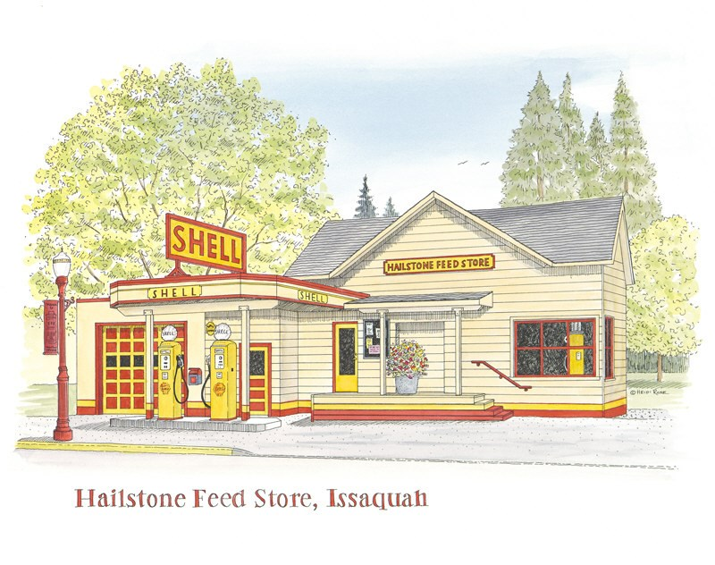 """Hailstone Feed Store"" original fine art by Heidi Rose"