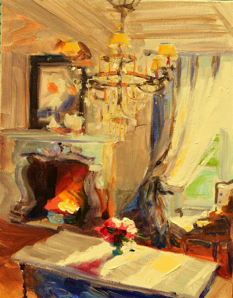 """CHATEAU FIREPLACE"" original fine art by Cecilia Rosslee"