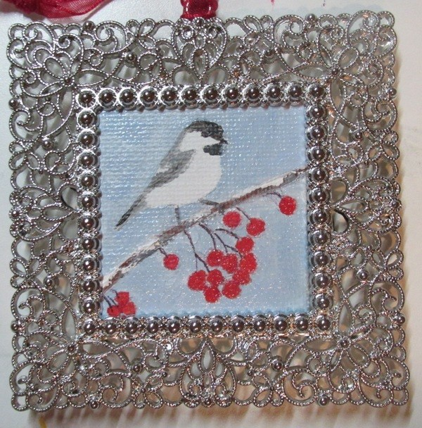 """Lil' Chickadee Ornament"" original fine art by Ruth Stewart"