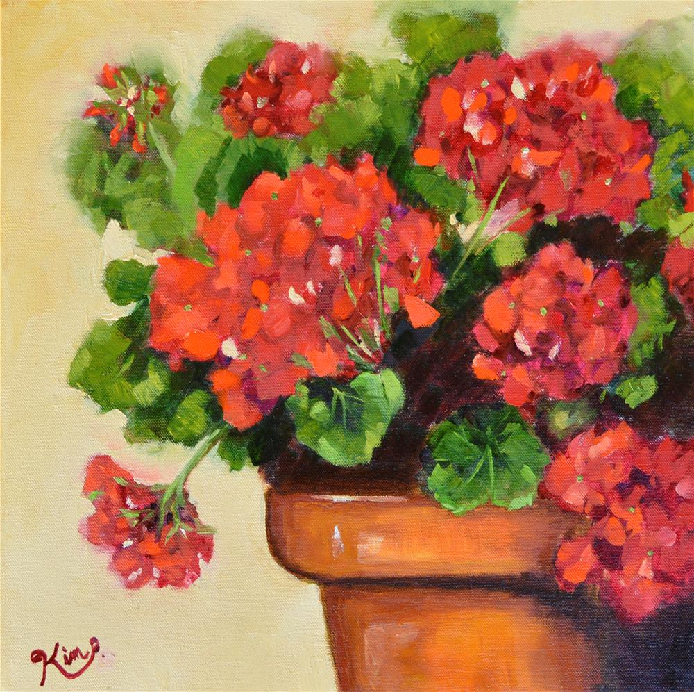 """Red Geranium Love"" original fine art by Kim Peterson"