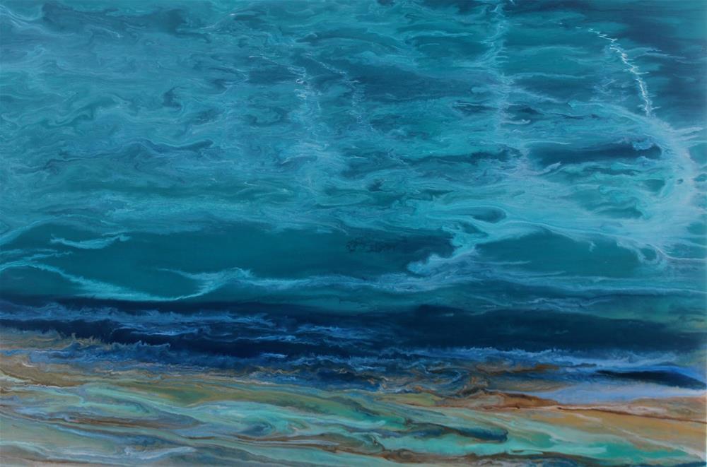 """""""Abstract Seascape,Coastal Living Decor,Beach Art Beautiful Storm IV by Colorado Contemporary Artis"""" original fine art by Kimberly Conrad"""