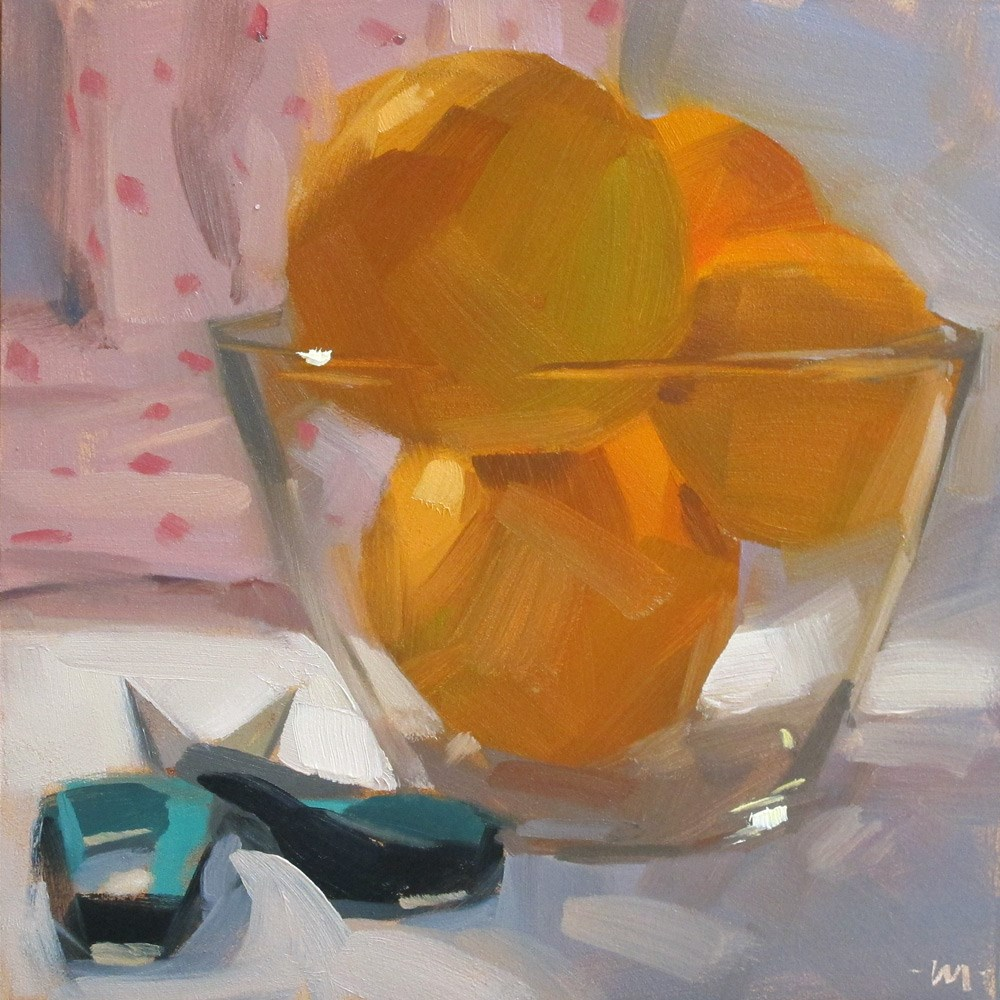 """Cutting Oranges"" original fine art by Carol Marine"
