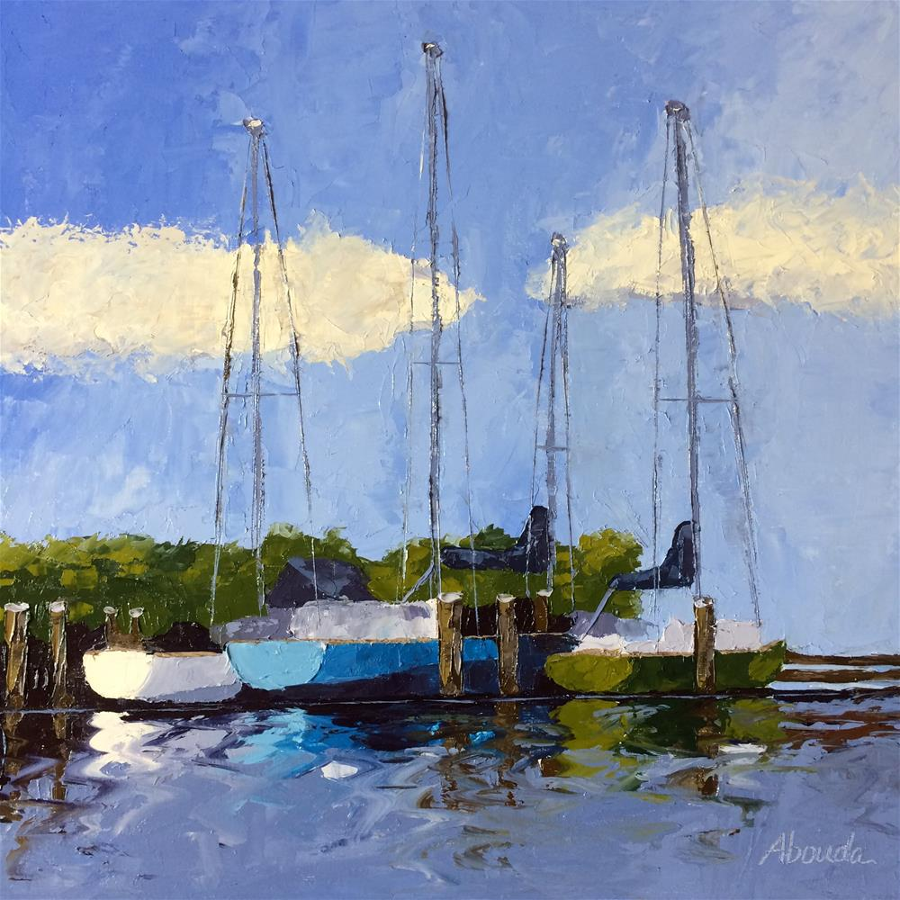 """Sailboats in Rockport Harbor"" original fine art by Sandy Abouda"