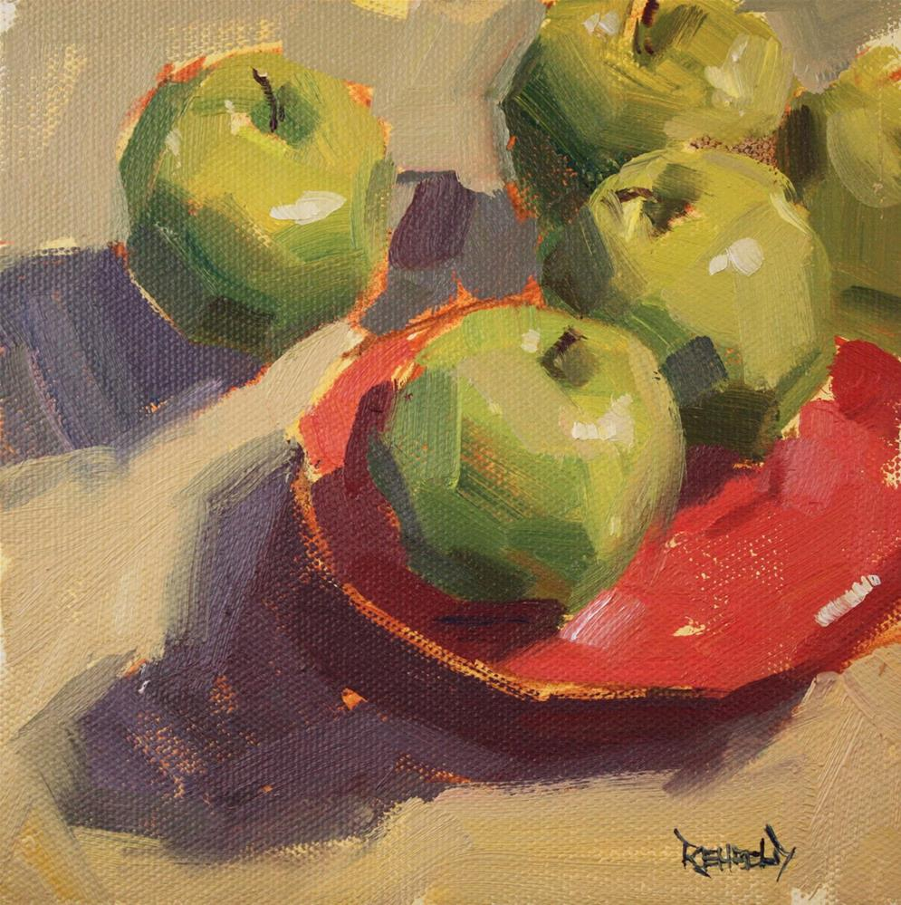 """Green Apples and Red Plate"" original fine art by Cathleen Rehfeld"