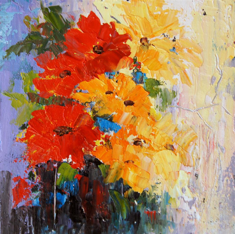 """Abstract Flower 4 palette knife painting"" original fine art by Marion Hedger"