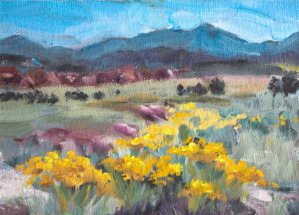 """KMD2948 Endless Summer by Colorado artist Kit Hevron Mahoney (5x7, oil, landscape, Moab, Utah,autumn"" original fine art by Kit Hevron Mahoney"