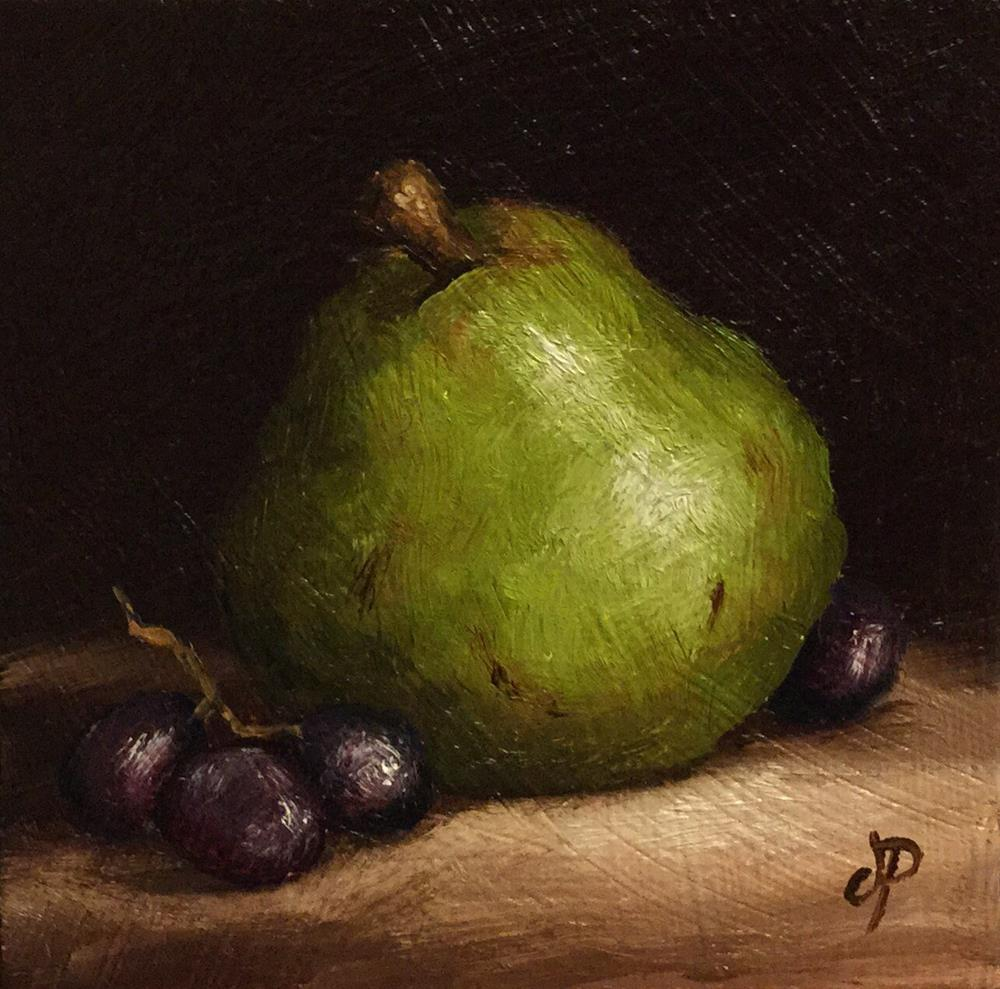 """Little Comice pear with grapes"" original fine art by Jane Palmer"