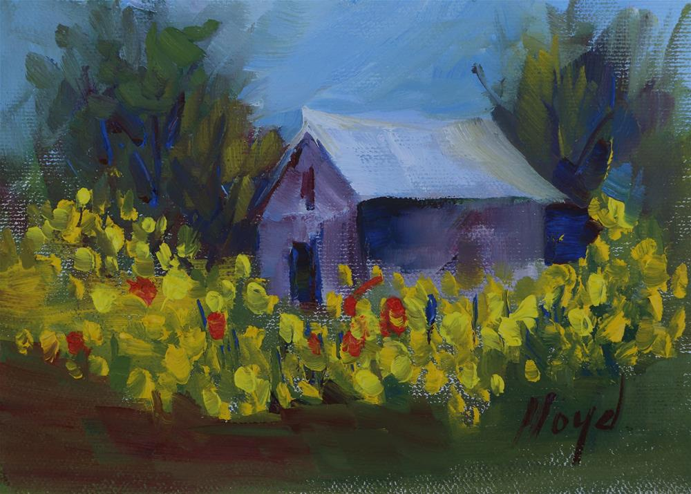"""Barn Surrounded by Yellow Flowers"" original fine art by Diane Lloyd"
