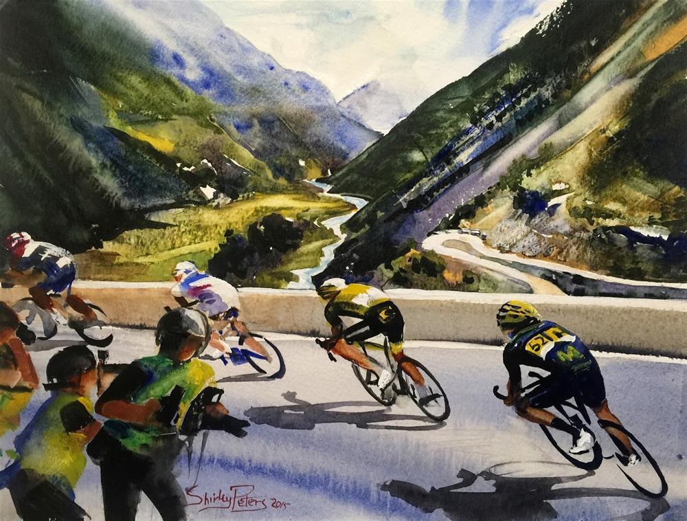 """""""Le Tour de France: Descending the Alps"""" original fine art by Shirley Peters"""
