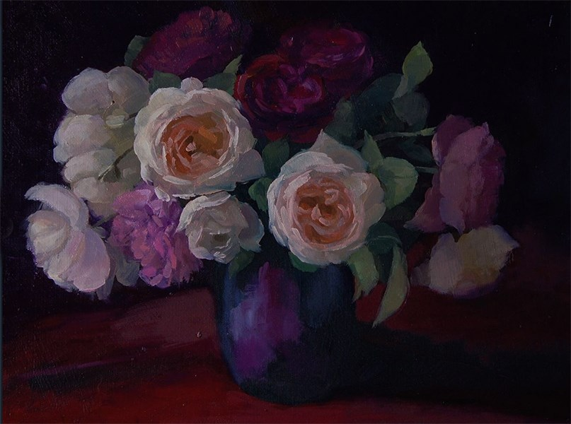 """Rose Bouquet"" original fine art by Ling Strube"