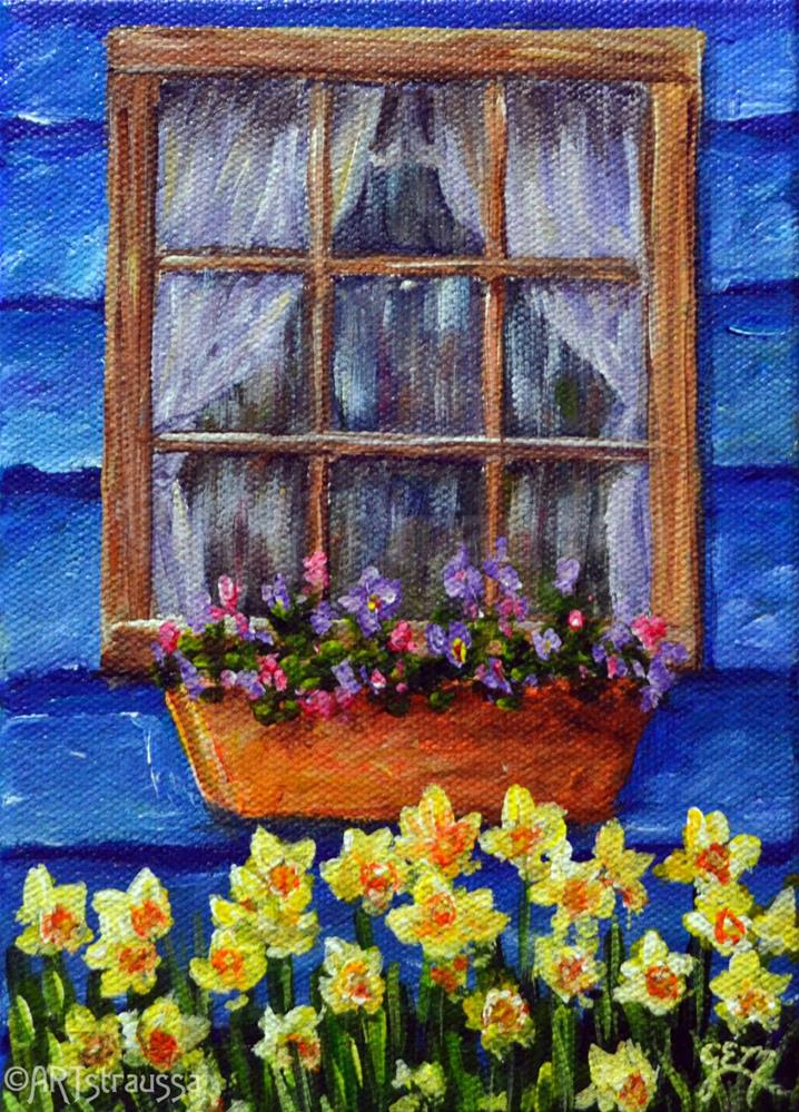 """Daffodil Window (Charity)"" original fine art by Gloria Ester"